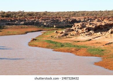 Kookynie water catchment and breakaway country in outback Australia