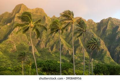 Ko'olau Mountains from Kualoa Regional Beach Park, Oahu, Hawaii