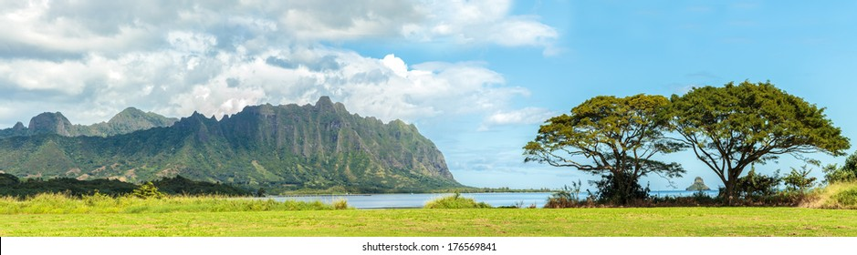 The Koolau mountains viewed across Kaneohe Bay on Windward Oahu, Hawaii