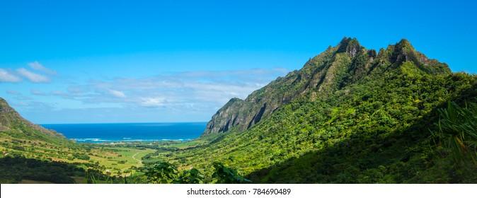 Koolau range in Hawaii with blue sky