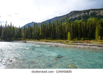 Kootenay River and Mountain range with yellow leaves in autumn, Kootenay National Park, Canadian Rockies, British Columbia, Canada