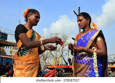 KOOVAGAM, INDIA - MAY 05: Unidentified transgenders who have participated in the marriage ritual during festival of transgenders held at Koothandavar temple on May 05, 2015 in Koovagam,Tamil Nadu.