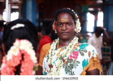 KOOVAGAM, INDIA - MAY 13: A unidentified transgender who married Lord Aravan as a ritual during festival of transgenders held at Koothandavar temple on May 13, 2014 in Koovagam,Tamil Nadu, India.