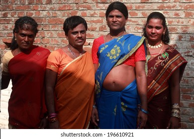 KOOVAGAM, INDIA - MAY 13: Unidentified transgenders gather during the annual festival of transgenders held at Koothandavar temple on May 13, 2014 in Koovagam,Tamil Nadu, India.