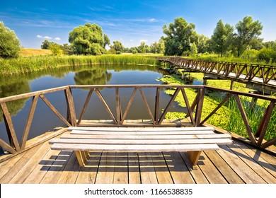Kopacki Rit marshes nature park bird observation deck and wooden boardwalk, Baranja region of Croatia