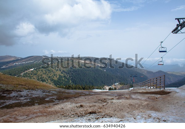 KOPAONIK, SERBIA - 1. MAY, 2017: Beautiful panorama view with mountains in the background