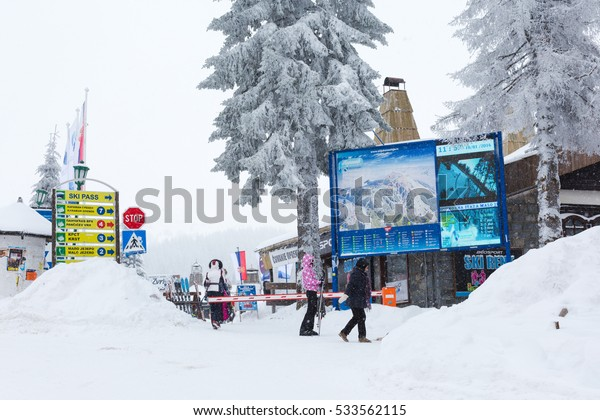 Kopaonik, Serbia - January 18, 2016: Panorama of ski resort Kopaonik during snowfall, houses, skiers, snowy trees at winter time
