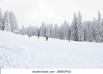 Kopaonik, Serbia - March 14, 2015: Ski lift in mountain with paths of skies and snowboards. Skiers in chair lift above the downhills, cableway and ski slope. Ski slopes at Kopaonik ski center, Serbia.