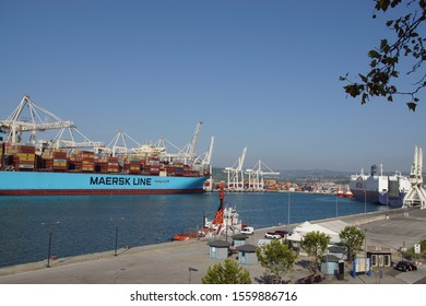 Koper / Slovenia - September 16 2019: A Maersk Line container ship in the container port of Koper with cranes.