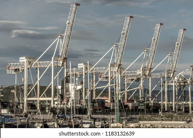 KOPER, SLOVENIA - SEPTEMBER 18: Freight ships  loaded with containers on 18th September 2016 in Koper, Slovenia.