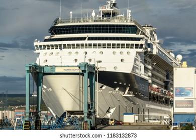 KOPER, SLOVENIA - SEPTEMBER 18: Luxury liner before departure from Koper on 18th September 2016 in Koper, Slovenia.