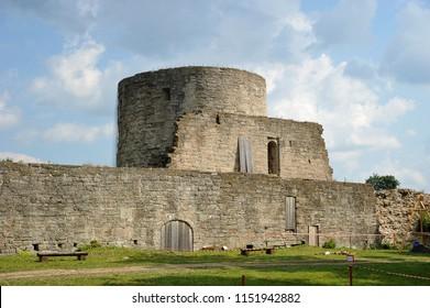 Koporye, Russia - 03 August 2018: Ruins of the medieval fortress of XIII century in Koporye, Leningradskaya Oblast, Russia