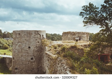 KOPORYE, RUSSIA - AUGUST 19, 2014: View of the North tower of Koporye fortress, Russia