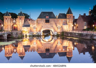 Koppelpoort medieval Dutch fortress. Historical center of Amersfoort city at night, Netherlands