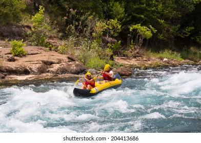 KOPRULU CANYON - TURKEY - JULY 11: Water rafting on the rapids of river Manavgat on July 11, 2014 in Koprulu Canyon, Turkey. Manavgat River is most popular rafters in Turkey