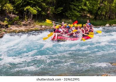 KOPRULU CANYON / TURKEY - JULY 11, 2014: Water rafting on the rapids of river koprucay. Koprucay river is most popular rafters in Turkey