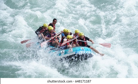 KOPRULU CANYON - TURKEY - MAY 2017: Water rafting on the rapids of river Koprucay at Koprulu Canyon, Turkey. Koprucay River is the most popular for rafters in Turkey