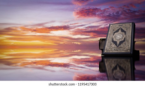 Koran - holy book of Muslims ( public item of all muslims )   with Twilight sky .