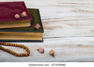 Koran and rosary beads  for Islamic concept. Holy book quran for Muslims holiday, Ramadan,blessed Friday.