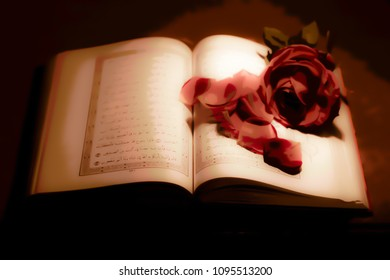 The Koran and roses as a symbol of peace