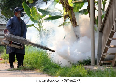Korat, Thailand - March 22, 2016: Unidentified people fogging DDT spray kill mosquito for control Malaria, Encephalitis, Dengue and Zika in village at Korat Thailand.
