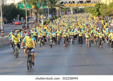 """Korat,THAILAND, DECEMBER 11 : This event is """"Bike for dad """" from Thailand. Bike for dad event show respected to King of Thailand by the participant cycling a bicycle, on December 11, 2015, Thailand"""