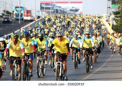 KORAT,THAILAND-DECEMBER 11 : People in Thailand riding bicycle for 29 kilometres along the streets in cities to show respected to the king's birthday on December 11, 2015 in Nakhonratchasima, Thailand