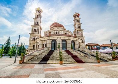 Korce, Albania - August 07, 2014. Resurrection of Christ Orthodox Cathedral is the main Albanian Orthodox church in Korce