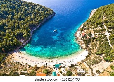 Korcula. Aerial view of Korcula island beach in Pupnatska Luka cove, southern Dalmatia archipelago of Croatia - Shutterstock ID 1863204733