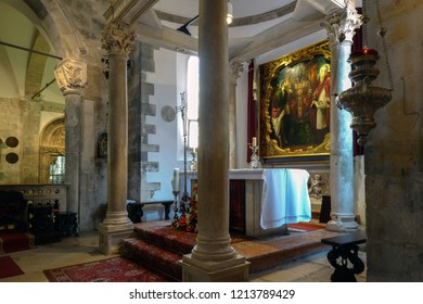Korcula, Croatia, August 1, 2018: Altarpiece painted by Tintoretto in the Cathedral of Saint Mark in Korcula, Croatia