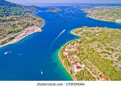 Korcula island. Bay entrance of Vela Luka aerial view, archipelago of southern Dalmatia, Croatia