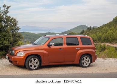 Korcula island/Croatia-September 7, 2015 Chevrolet HHR LT- retro design was inspired by the mid-1940s Chevrolet cars and trucks, specifically the 1947 Chevrolet Suburbun and Advance Design pickups.