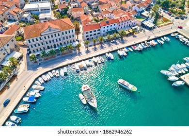 Korcula. Town of Vela Luka on Korcula island waterfront aerial view, archipelago of southern Dalmatia, Croatia