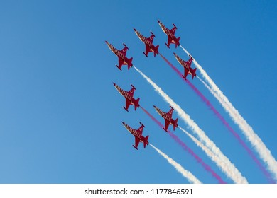 Kordon,Izmir,Turkey- September 9, 2018: Turkish Air Force aerobatic demonstration team which called Turkish Stars are flying on the sky for 9 September- Izmir's Independence Day.