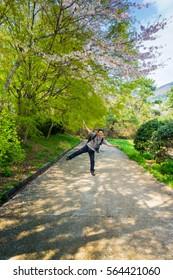 Korea 26 April 2015, Busan City, Beautiful Jinhae Cherry Blossom Festival in South Korea, Yeojwacheon. People visit because this season is beautiful sakura flower along the street.