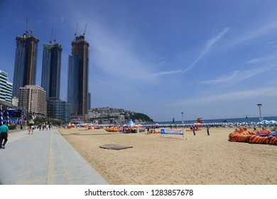 Korea Busan - August 12, 2018: Scenery of Haeundae of Busan in South Korea