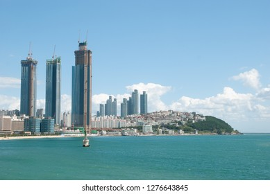 Korea, Busan View of Haeundae's Dalmaji Pass from Dongbaek Island.