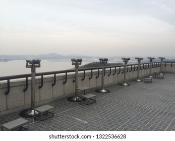 KOREA - CIRCA NOVEMBER 2017 : View of binoculars and NORTH KOREA from Odusan Unification Observatory.