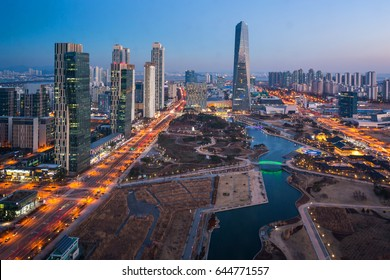 Korea. city with Beautiful after sunset, Central park in Songdo District, Incheon South Korea.