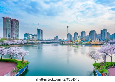 Korea cityscape with Lotte world and Cherry Blossom Festival in Spring,Seoul in South Korea