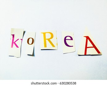 """Korea"" Cutout Words Collage Of Mixed Magazine Letters"