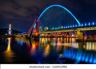 Korea Daejeon expo bridge park at night time in Daejeon city, South korea.