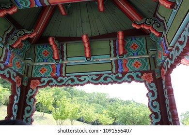 Korea 'Dancheong' in temple. Dancheong refers to the use of five colors of blue, red, yellow, white, and black as the basis for drawing various multicolored patterns and drawings on wooden buildings.