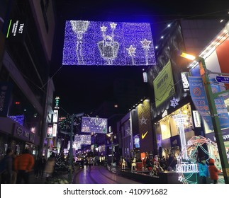 KOREA - DECEMBER 27, 2015: View of Christmas tree culture festival in Busan ,Nampo-dong, Shopping street, Kukje Market , Busan , Korea