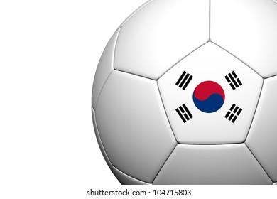 Korea Flag Pattern 3d rendering of a soccer ball