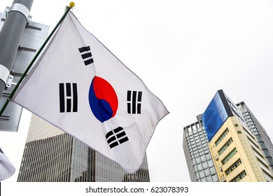 korea flage and building background