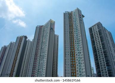 Korea is full of high-rise apartments. Koreans love living in apartments. (Daegu, Korea. Jul. 17, 2019)