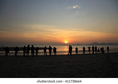 KOREA - JANUARY 10, 2016 : View of Sunset Dadaepo beach, Busan, Korea