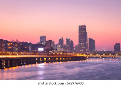 Korea landmark Seoul city and skyscraper, yeouido in sunset, south Korea.