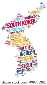 Korea map silhouette word cloud with most popular travel destinations